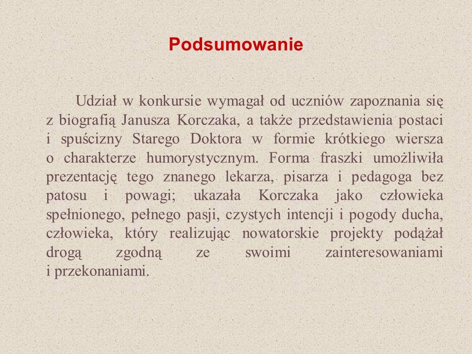 Podsumowanie Udział w konkursie wymagał od uczniów zapoznania się z biografią Janusza Korczaka, a także przedstawienia postaci i spuścizny Starego Dok