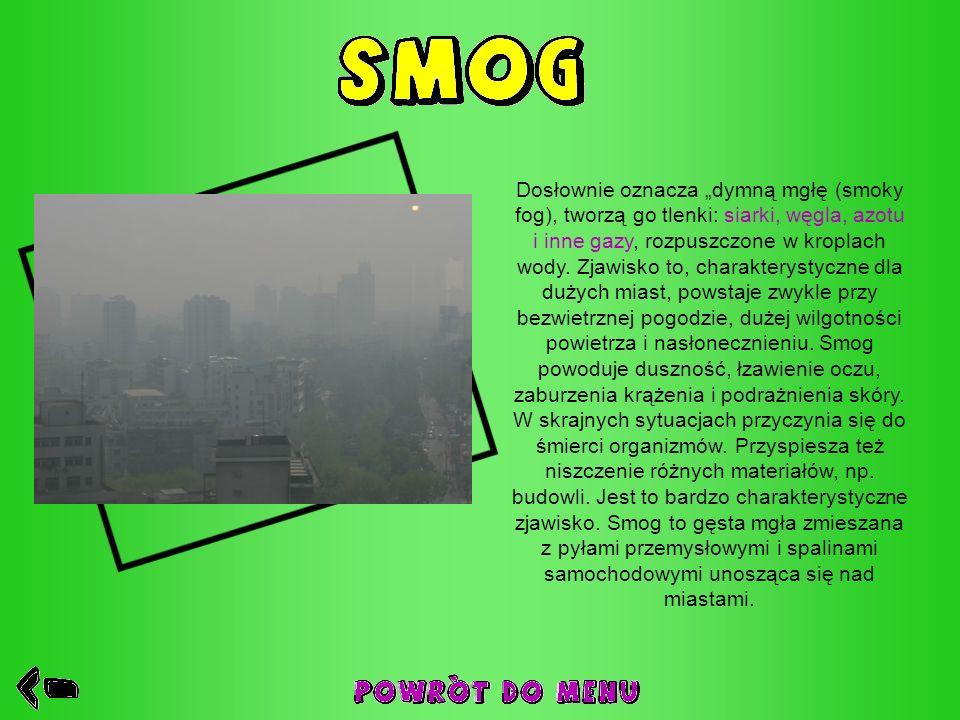 Dosłownie oznacza dymną mgłę (smoky fog), tworzą go tlenki: siarki, węgla, azotu i inne gazy, rozpuszczone w kroplach wody. Zjawisko to, charakterysty