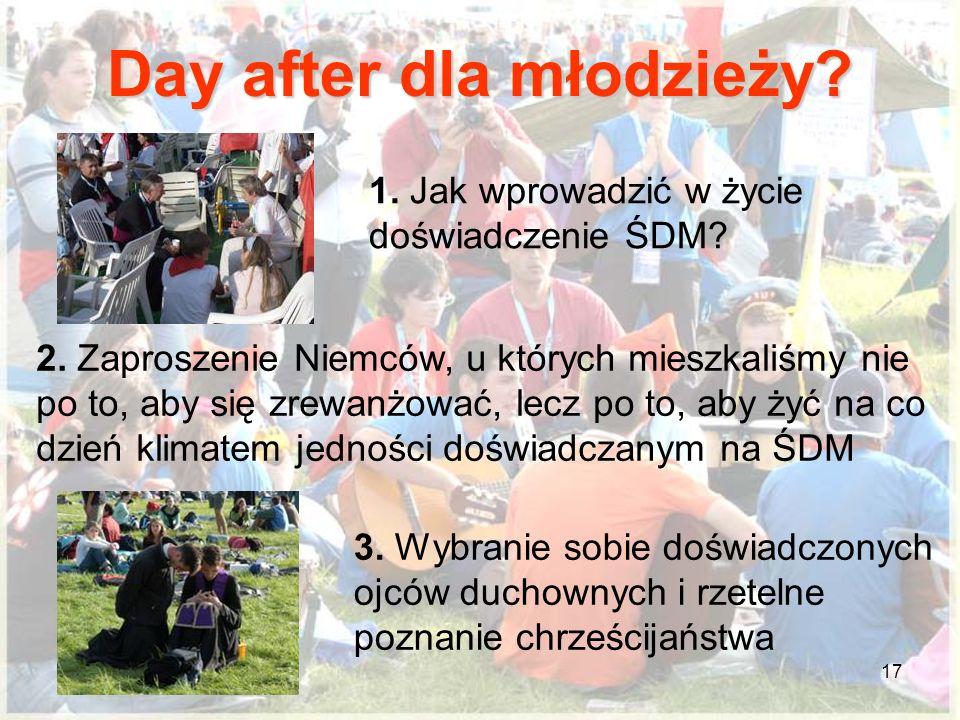 17 Day after dla młodzieży? 1. Jak wprowadzić w życie doświadczenie ŚDM? 2. Zaproszenie Niemców, u których mieszkaliśmy nie po to, aby się zrewanżować