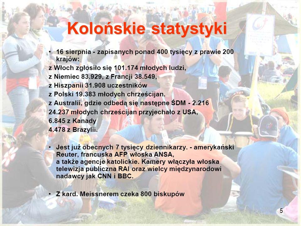 5 16 sierpnia - zapisanych ponad 400 tysięcy z prawie 200 krajów: z Włoch zgłosiło się 101.174 młodych ludzi, z Niemiec 83.929, z Francji 38.549, z Hiszpanii 31.908 uczestników z Polski 19.383 młodych chrześcijan.