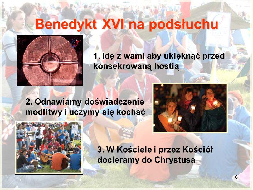 6 Benedykt XVI na podsłuchu 1. Idę z wami aby uklęknąć przed konsekrowaną hostią 2. Odnawiamy doświadczenie modlitwy i uczymy się kochać 3. W Kościele