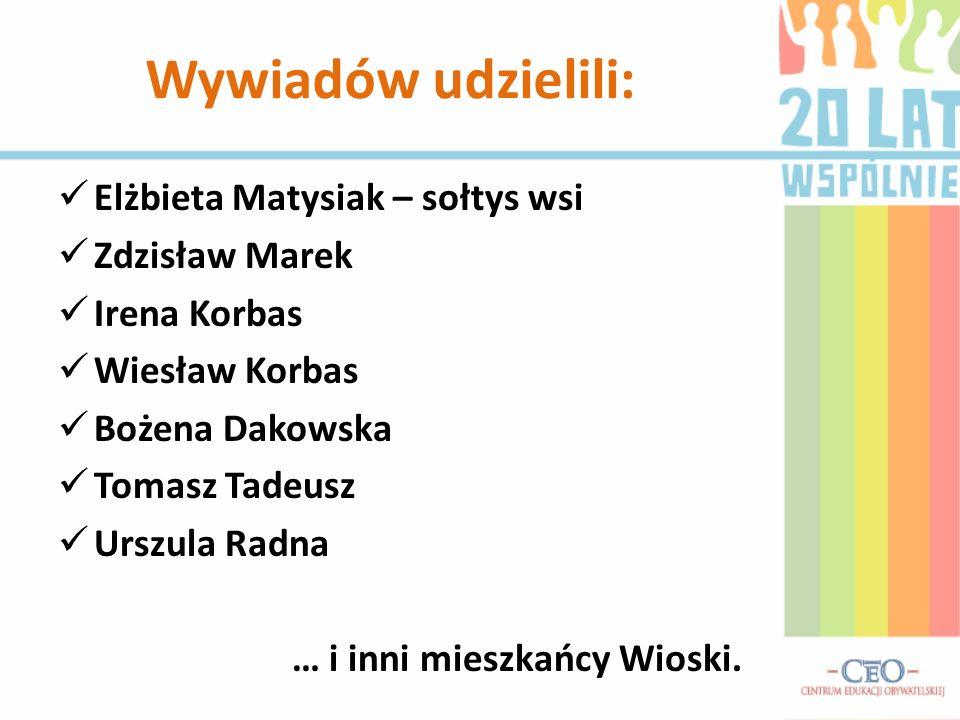 Elżbieta Matysiak – sołtys wsi Zdzisław Marek Irena Korbas Wiesław Korbas Bożena Dakowska Tomasz Tadeusz Urszula Radna … i inni mieszkańcy Wioski. Wyw