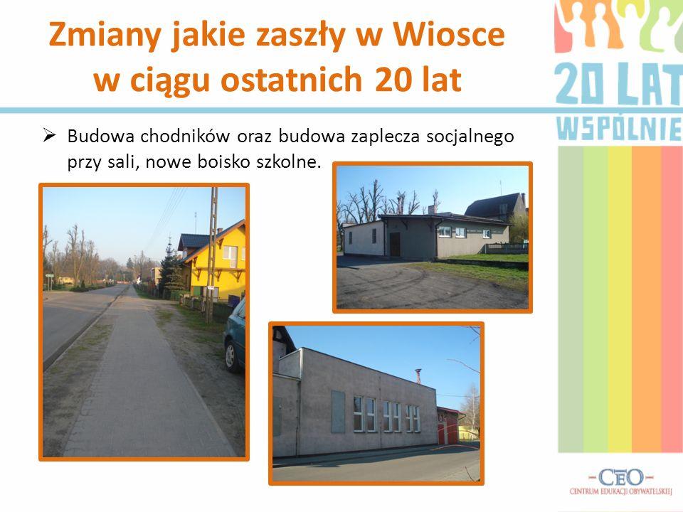 Budowa chodników oraz budowa zaplecza socjalnego przy sali, nowe boisko szkolne. Zmiany jakie zaszły w Wiosce w ciągu ostatnich 20 lat