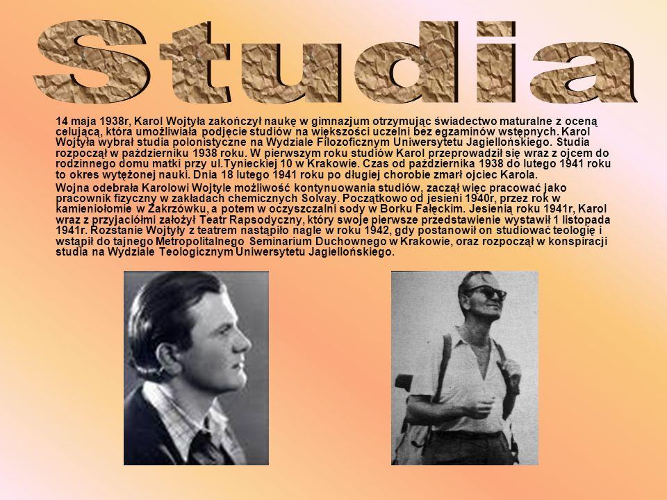 14 maja 1938r, Karol Wojtyła zakończył naukę w gimnazjum otrzymując świadectwo maturalne z oceną celującą, która umożliwiała podjęcie studiów na więks