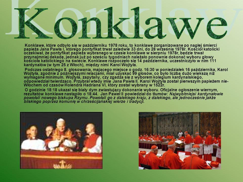 Konklawe, które odbyło się w październiku 1978 roku, to konklawe zorganizowane po nagłej śmierci papieża Jana Pawła I, którego pontyfikat trwał zaledw