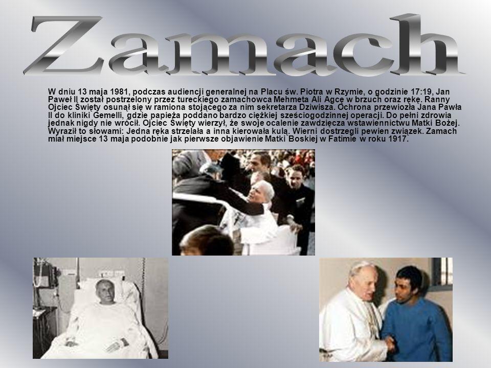 W dniu 13 maja 1981, podczas audiencji generalnej na Placu św. Piotra w Rzymie, o godzinie 17:19, Jan Paweł II został postrzelony przez tureckiego zam