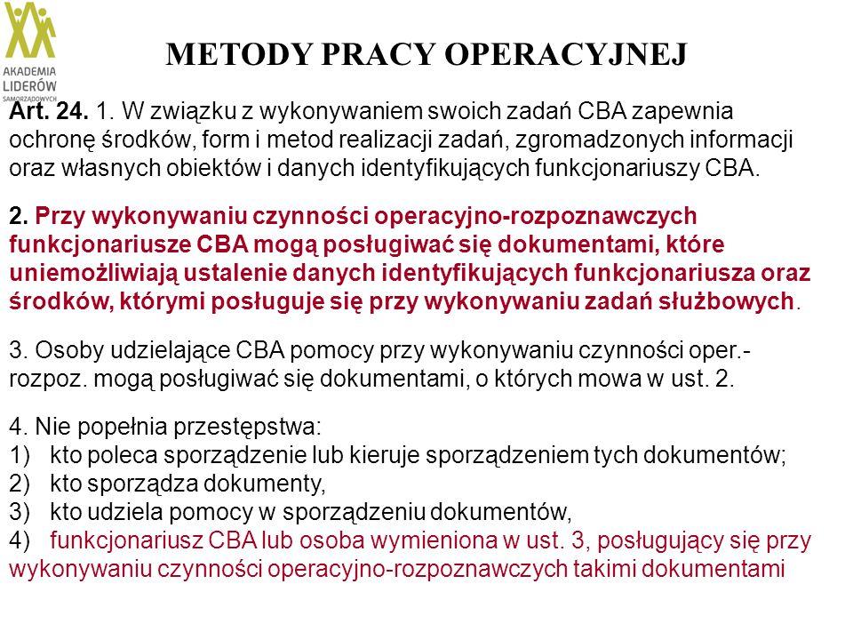 METODY PRACY OPERACYJNEJ Art. 24. 1. W związku z wykonywaniem swoich zadań CBA zapewnia ochronę środków, form i metod realizacji zadań, zgromadzonych