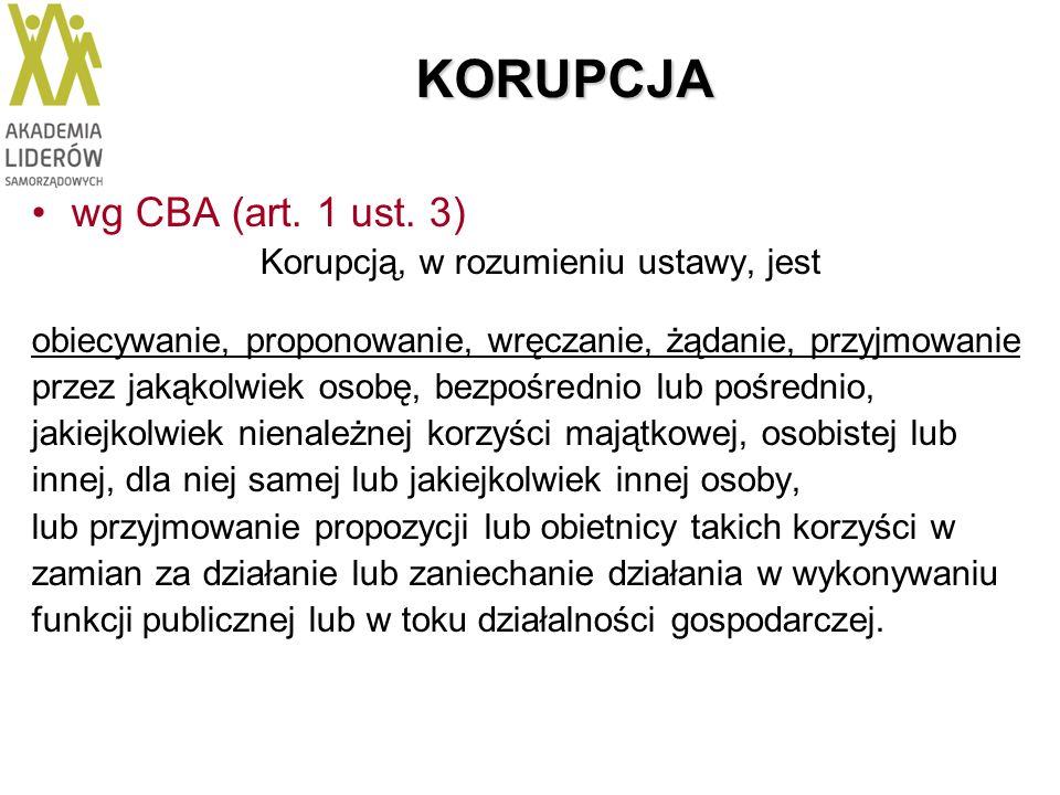 KORUPCJA wg CBA (art. 1 ust. 3) Korupcją, w rozumieniu ustawy, jest obiecywanie, proponowanie, wręczanie, żądanie, przyjmowanie przez jakąkolwiek osob
