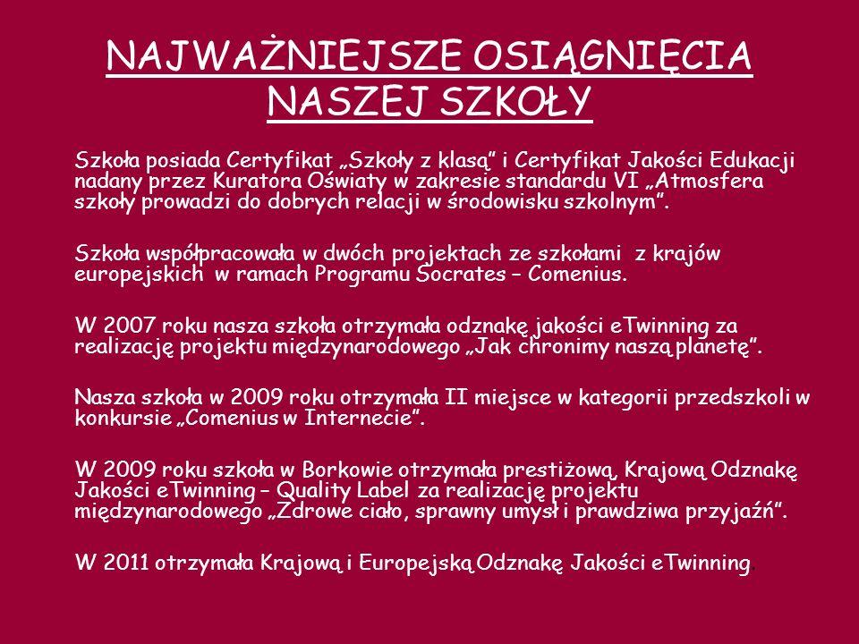 OSIĄGNIĘCIA NASZYCH UCZNIÓW 1985/1986 Szkoła Podstawowa w Borkowie wzięła udział w Wojewódzkim Przeglądzie Teatrów Dziecięcych w Zblewie i zdobyła dyplom oraz piękna metaloplastykę Koga.