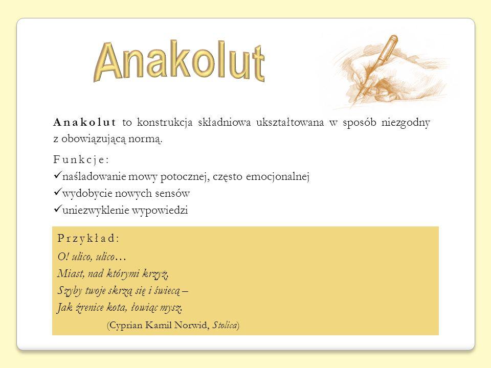 Anakolut to konstrukcja składniowa ukształtowana w sposób niezgodny z obowiązującą normą. Funkcje: naśladowanie mowy potocznej, często emocjonalnej wy