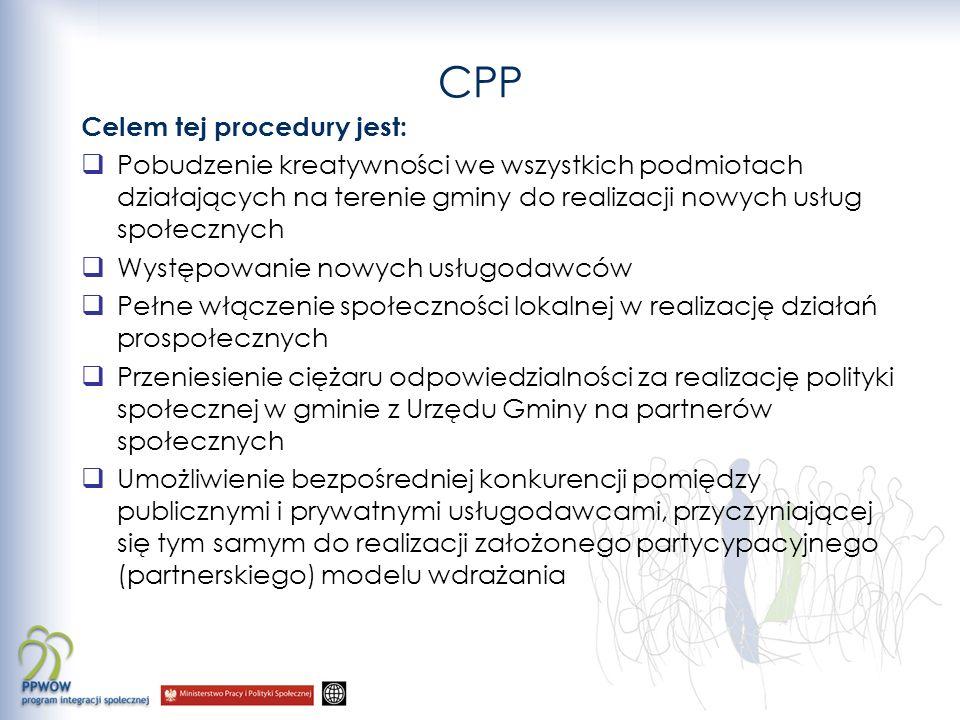 CPP Celem tej procedury jest: Pobudzenie kreatywności we wszystkich podmiotach działających na terenie gminy do realizacji nowych usług społecznych Występowanie nowych usługodawców Pełne włączenie społeczności lokalnej w realizację działań prospołecznych Przeniesienie ciężaru odpowiedzialności za realizację polityki społecznej w gminie z Urzędu Gminy na partnerów społecznych Umożliwienie bezpośredniej konkurencji pomiędzy publicznymi i prywatnymi usługodawcami, przyczyniającej się tym samym do realizacji założonego partycypacyjnego (partnerskiego) modelu wdrażania