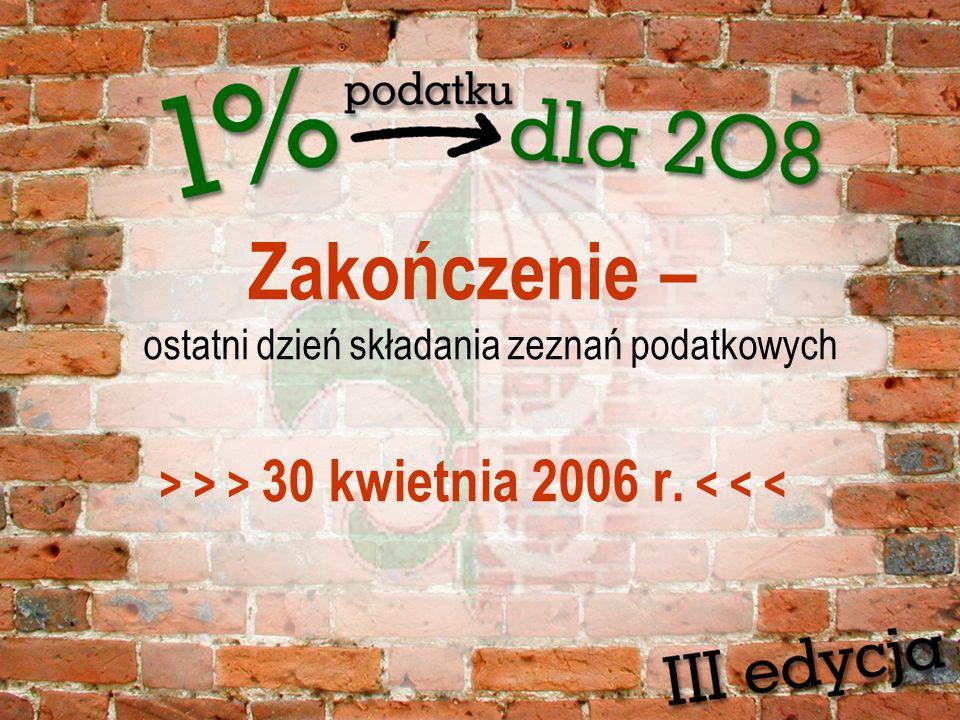 Zakończenie – ostatni dzień składania zeznań podatkowych > > > 30 kwietnia 2006 r. < < <