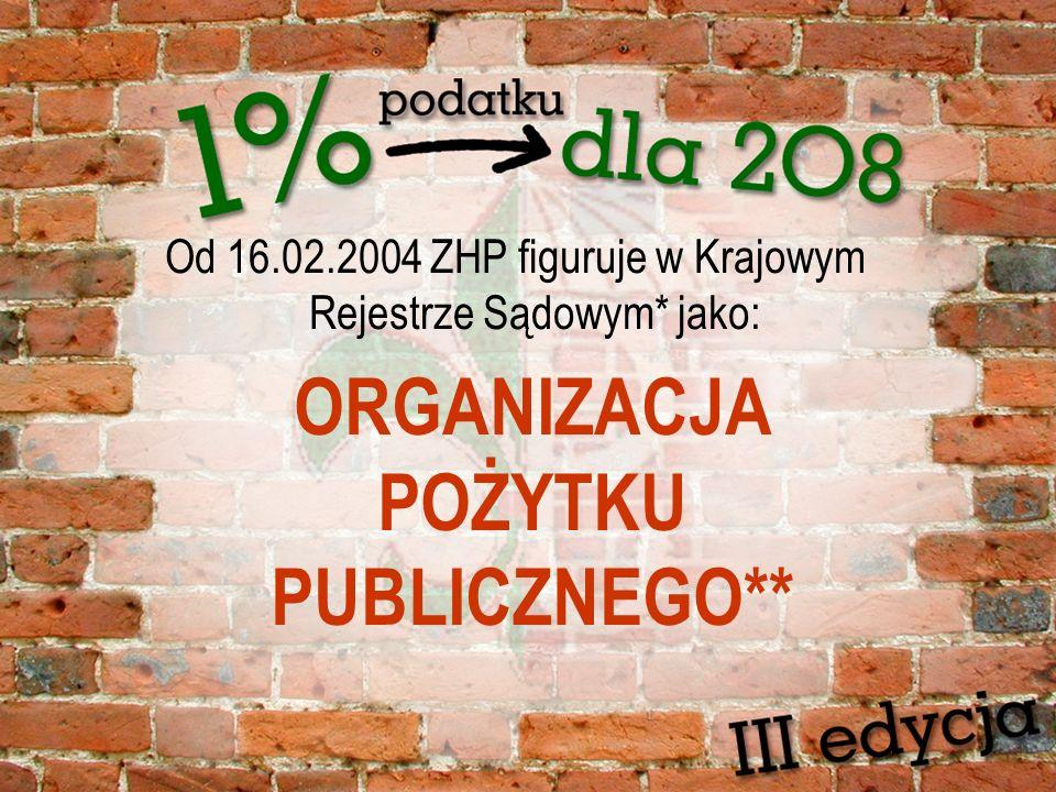 Od 16.02.2004 ZHP figuruje w Krajowym Rejestrze Sądowym* jako: ORGANIZACJA POŻYTKU PUBLICZNEGO**