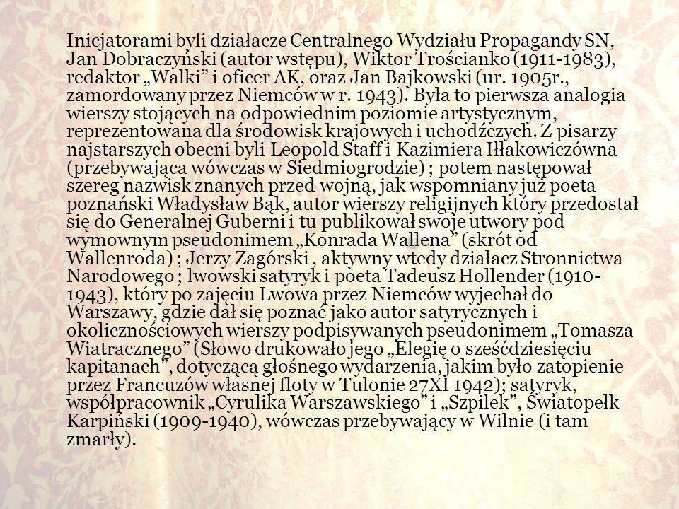 Inicjatorami byli działacze Centralnego Wydziału Propagandy SN, Jan Dobraczyński (autor wstępu), Wiktor Trościanko (1911-1983), redaktor Walki i ofice