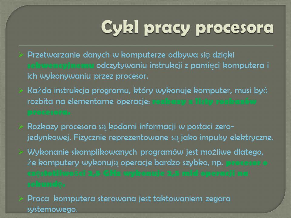 Przetwarzanie danych w komputerze odbywa si ę dzi ę ki sekwencyjnemu odczytywaniu instrukcji z pami ę ci komputera i ich wykonywaniu przez procesor.