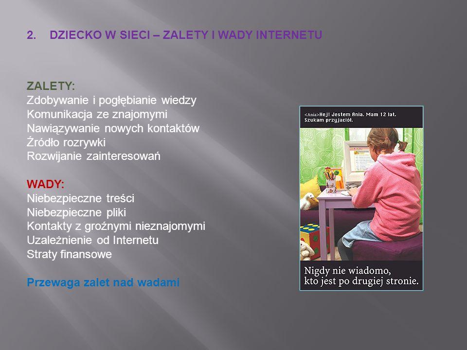 2. DZIECKO W SIECI – ZALETY I WADY INTERNETU ZALETY: Zdobywanie i pogłębianie wiedzy Komunikacja ze znajomymi Nawiązywanie nowych kontaktów Źródło roz