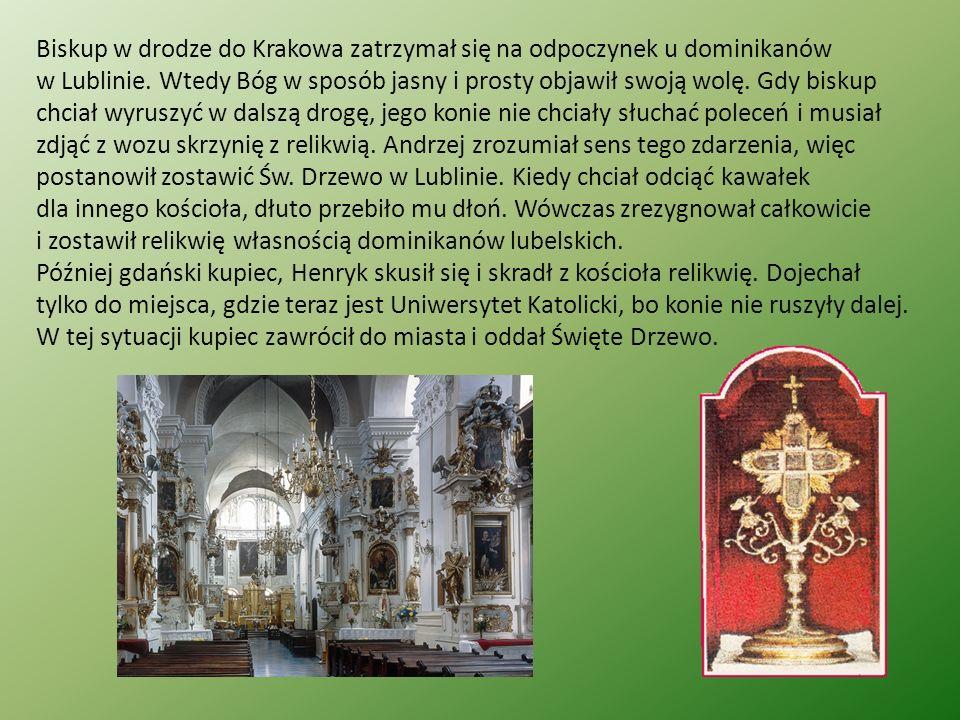 Biskup w drodze do Krakowa zatrzymał się na odpoczynek u dominikanów w Lublinie. Wtedy Bóg w sposób jasny i prosty objawił swoją wolę. Gdy biskup chci
