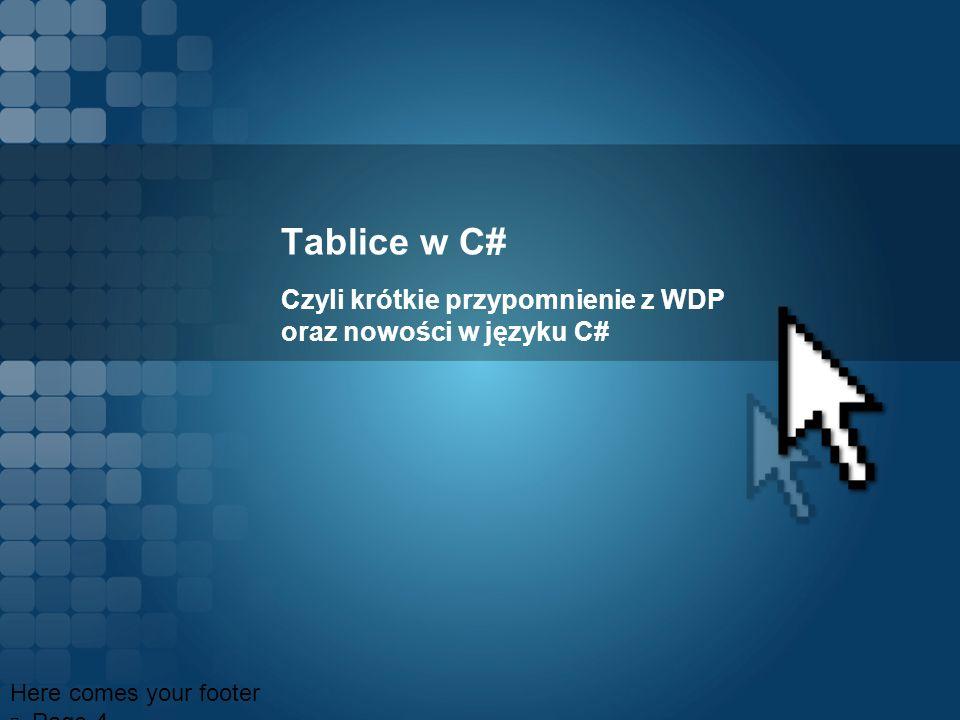 Tablice w C# Czyli krótkie przypomnienie z WDP oraz nowości w języku C# Here comes your footer Page 4