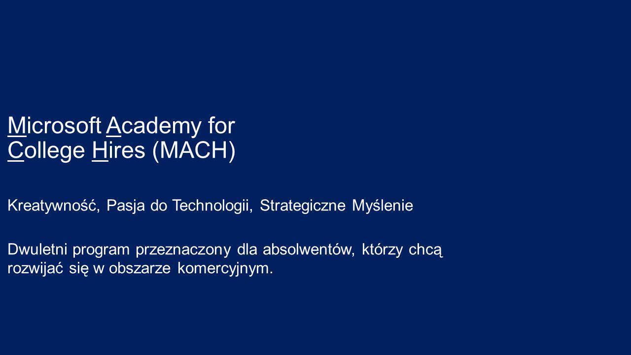 Microsoft Academy for College Hires (MACH) Kreatywność, Pasja do Technologii, Strategiczne Myślenie Dwuletni program przeznaczony dla absolwentów, którzy chcą rozwijać się w obszarze komercyjnym.