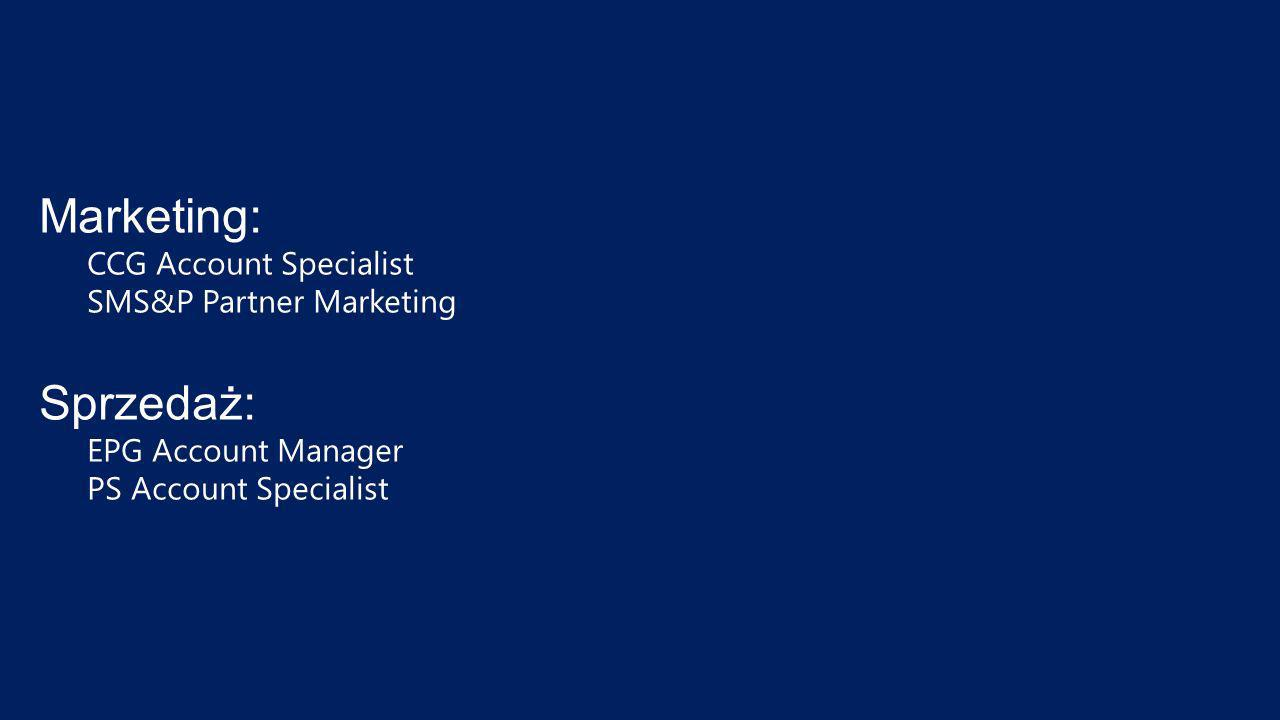 Marketing: CCG Account Specialist SMS&P Partner Marketing Sprzedaż: EPG Account Manager PS Account Specialist