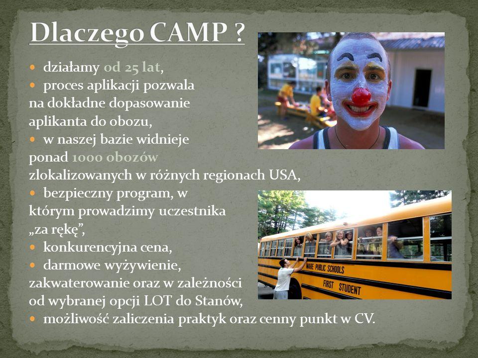działamy od 25 lat, proces aplikacji pozwala na dokładne dopasowanie aplikanta do obozu, w naszej bazie widnieje ponad 1000 obozów zlokalizowanych w r