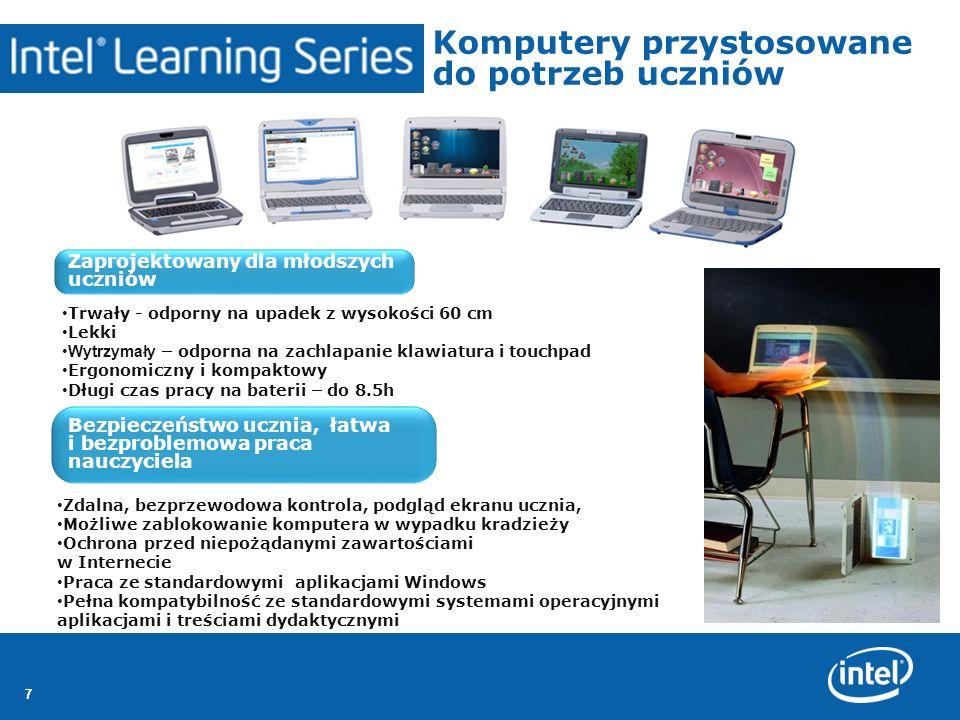 777 Komputery przystosowane do potrzeb uczniów Zaprojektowany dla młodszych uczniów Bezpieczeństwo ucznia, łatwa i bezproblemowa praca nauczyciela Trw