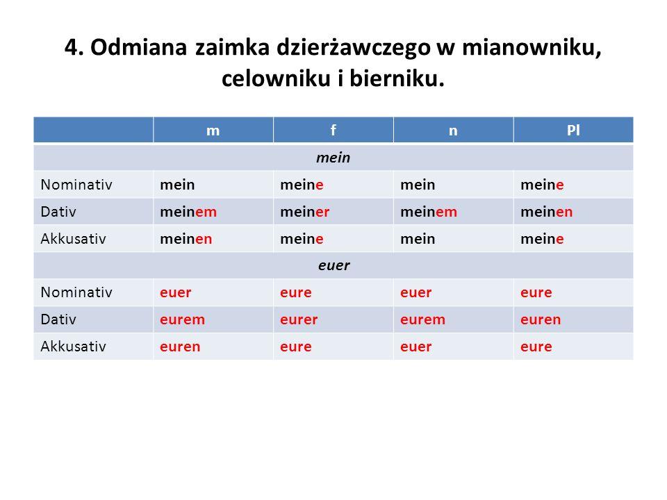4. Odmiana zaimka dzierżawczego w mianowniku, celowniku i bierniku. mfnPl mein Nominativmeinmeinemeinmeine Dativmeinemmeinermeinemmeinen Akkusativmein
