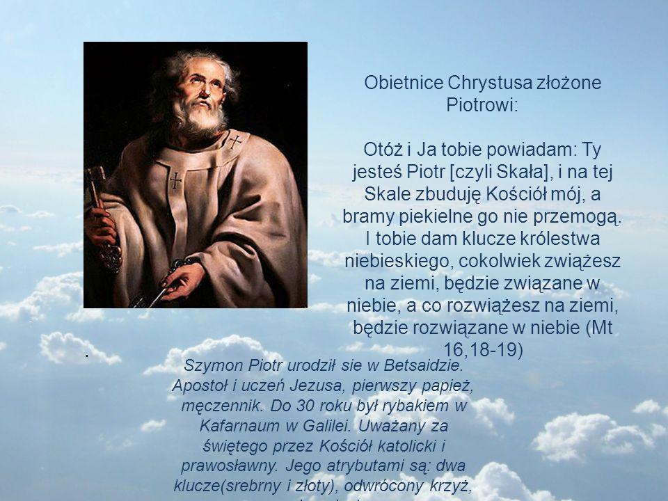 Szymon Piotr urodził sie w Betsaidzie. Apostoł i uczeń Jezusa, pierwszy papież, męczennik. Do 30 roku był rybakiem w Kafarnaum w Galilei. Uważany za ś