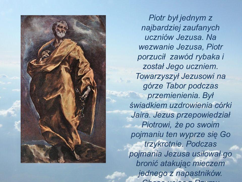 Piotr był jednym z najbardziej zaufanych uczniów Jezusa. Na wezwanie Jezusa, Piotr porzucił zawód rybaka i został Jego uczniem. Towarzyszył Jezusowi n