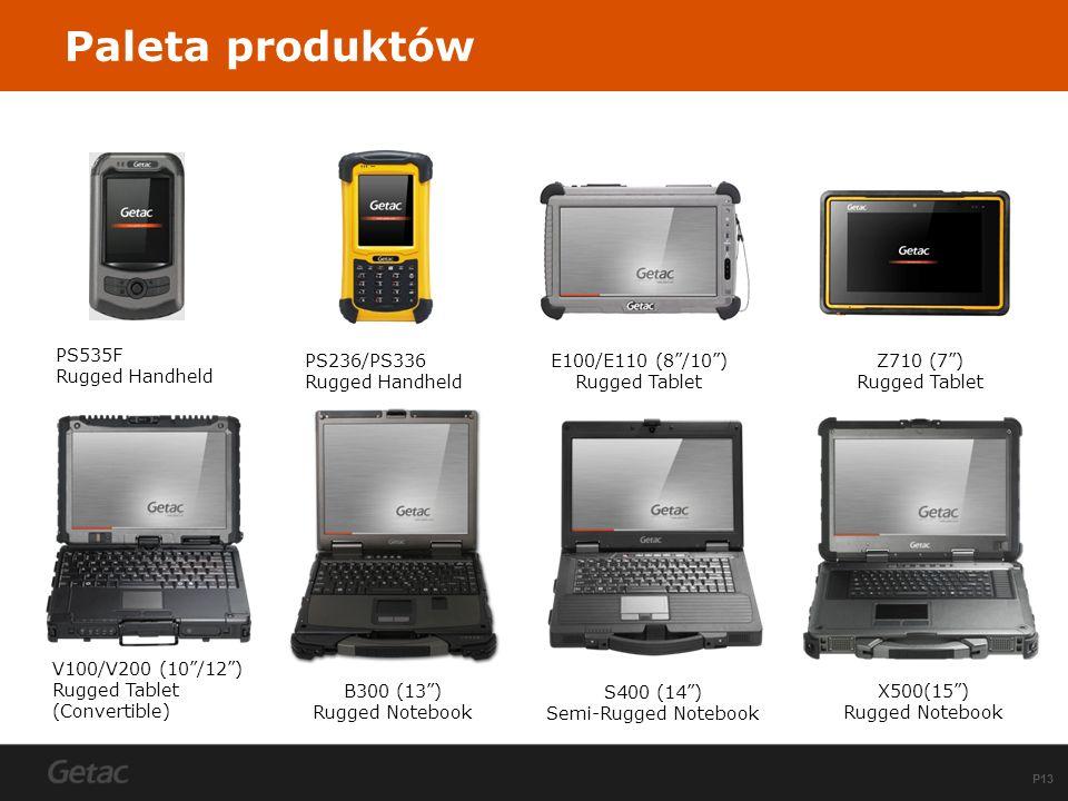 P13 Paleta produktów B300 (13) Rugged Notebook S400 (14) Semi-Rugged Notebook X500(15) Rugged Notebook PS236/PS336 Rugged Handheld E100/E110 (8/10) Ru