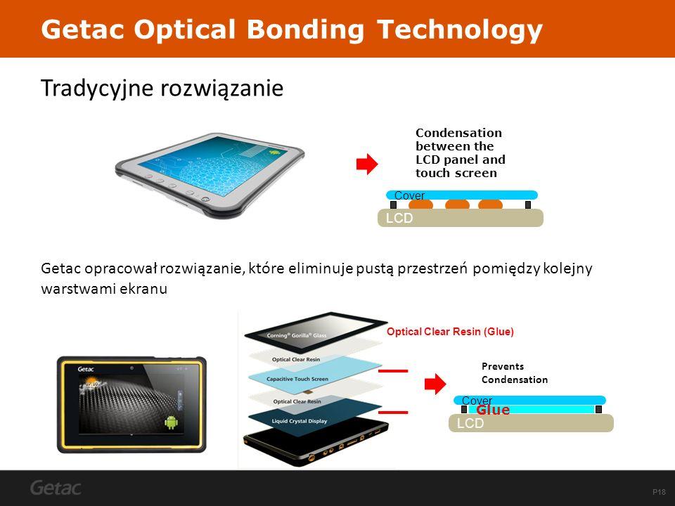 P18 Tradycyjne rozwiązanie Getac opracował rozwiązanie, które eliminuje pustą przestrzeń pomiędzy kolejny warstwami ekranu Getac Optical Bonding Techn