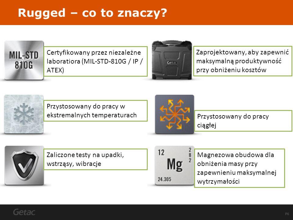 P6 Rugged – co to znaczy? Certyfikowany przez niezależne laboratiora (MIL-STD-810G / IP / ATEX) Przystosowany do pracy w ekstremalnych temperaturach Z