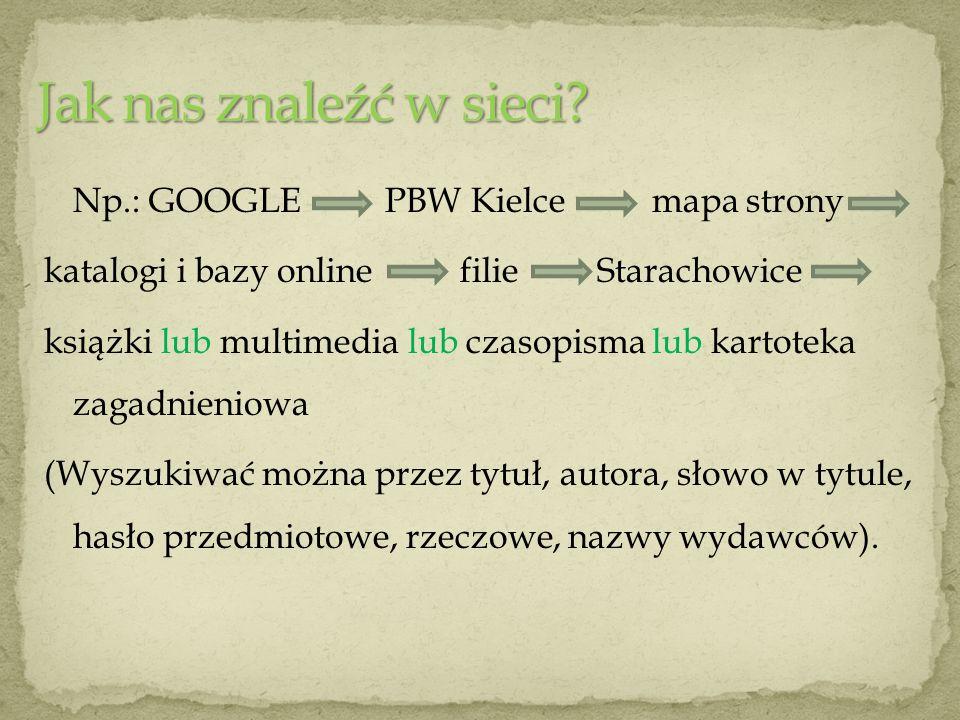 Np.: GOOGLE PBW Kielce mapa strony katalogi i bazy online filie Starachowice książki lub multimedia lub czasopisma lub kartoteka zagadnieniowa (Wyszuk