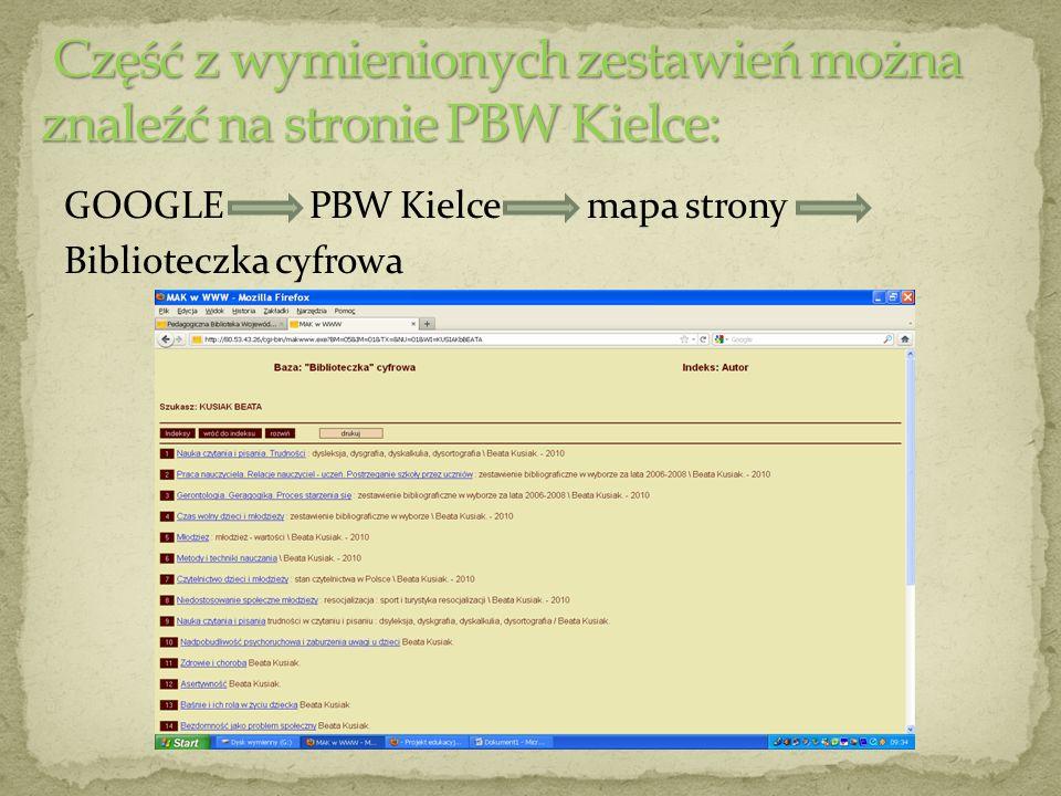 GOOGLE PBW Kielce mapa strony Biblioteczka cyfrowa