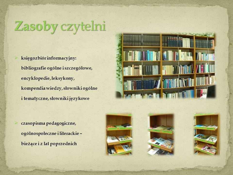 księgozbiór informacyjny: bibliografie ogólne i szczegółowe, encyklopedie, leksykony, kompendia wiedzy, słowniki ogólne i tematyczne, słowniki językow