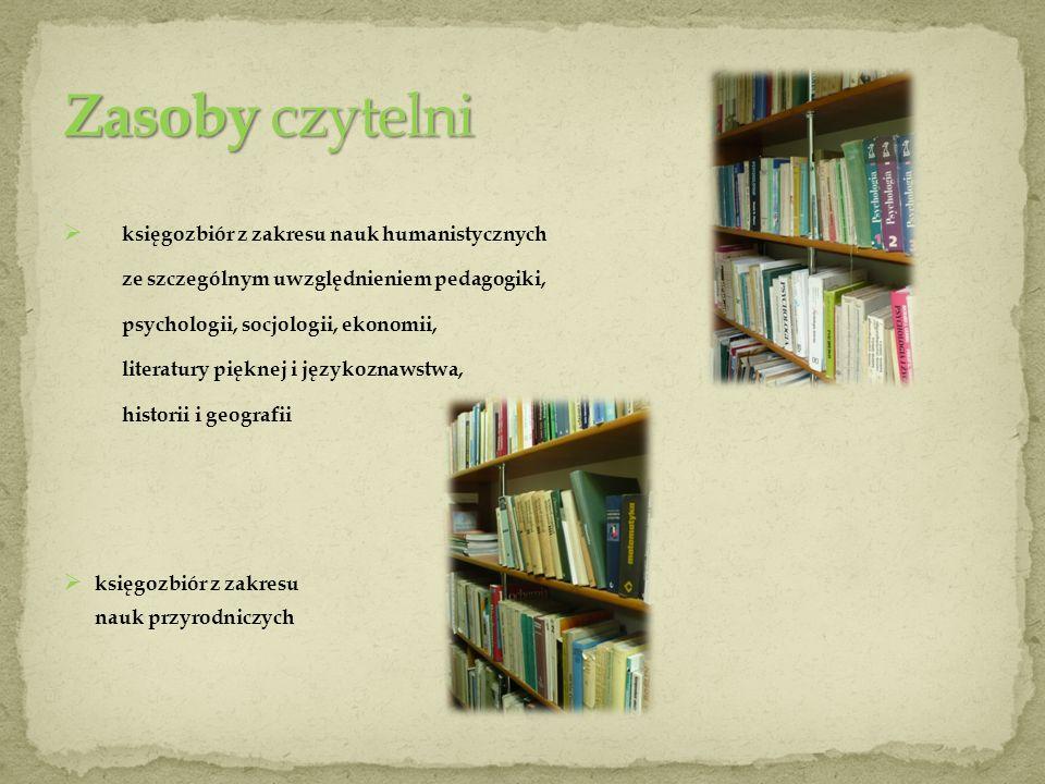 księgozbiór z zakresu nauk humanistycznych ze szczególnym uwzględnieniem pedagogiki, psychologii, socjologii, ekonomii, literatury pięknej i językozna