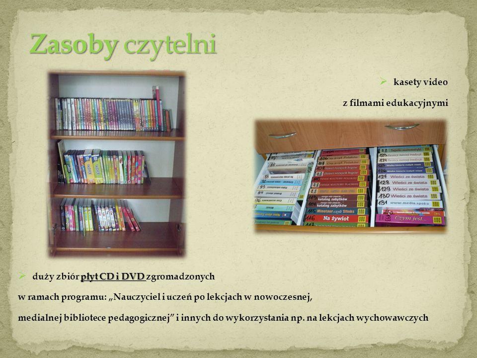 kasety video z filmami edukacyjnymi płyt CD i DVD duży zbiór płyt CD i DVD zgromadzonych w ramach programu: Nauczyciel i uczeń po lekcjach w nowoczesn