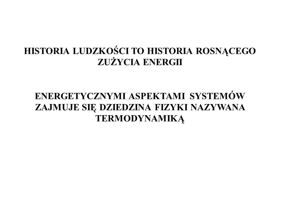 HISTORIA LUDZKOŚCI TO HISTORIA ROSNĄCEGO ZUŻYCIA ENERGII ENERGETYCZNYMI ASPEKTAMI SYSTEMÓW ZAJMUJE SIĘ DZIEDZINA FIZYKI NAZYWANA TERMODYNAMIKĄ