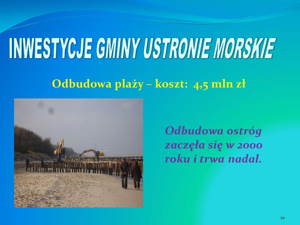 Odbudowa plaży – koszt: 4,5 mln zł Odbudowa ostróg zaczęła się w 2000 roku i trwa nadal. 10