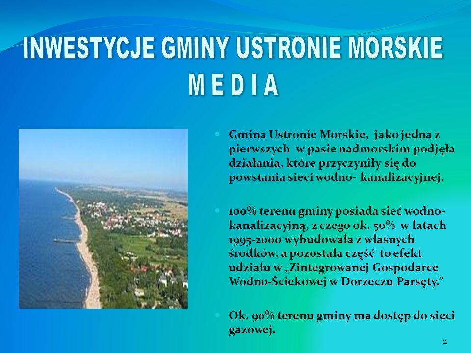 Gmina Ustronie Morskie, jako jedna z pierwszych w pasie nadmorskim podjęła działania, które przyczyniły się do powstania sieci wodno- kanalizacyjnej.