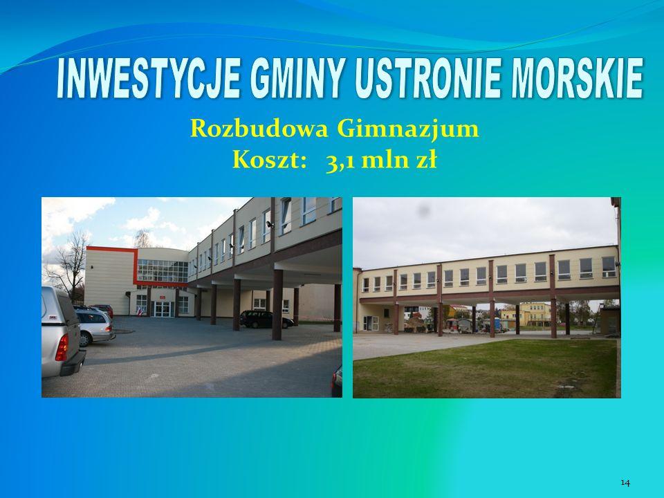 Rozbudowa Gimnazjum Koszt: 3,1 mln zł 14