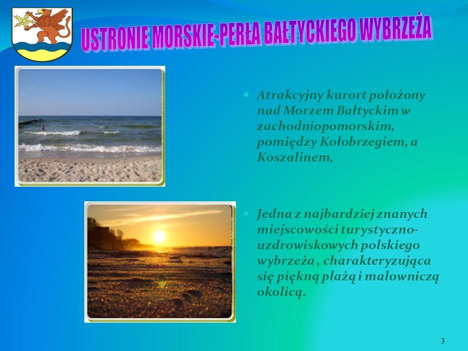 Atrakcyjny kurort położony nad Morzem Bałtyckim w zachodniopomorskim, pomiędzy Kołobrzegiem, a Koszalinem, Jedna z najbardziej znanych miejscowości tu
