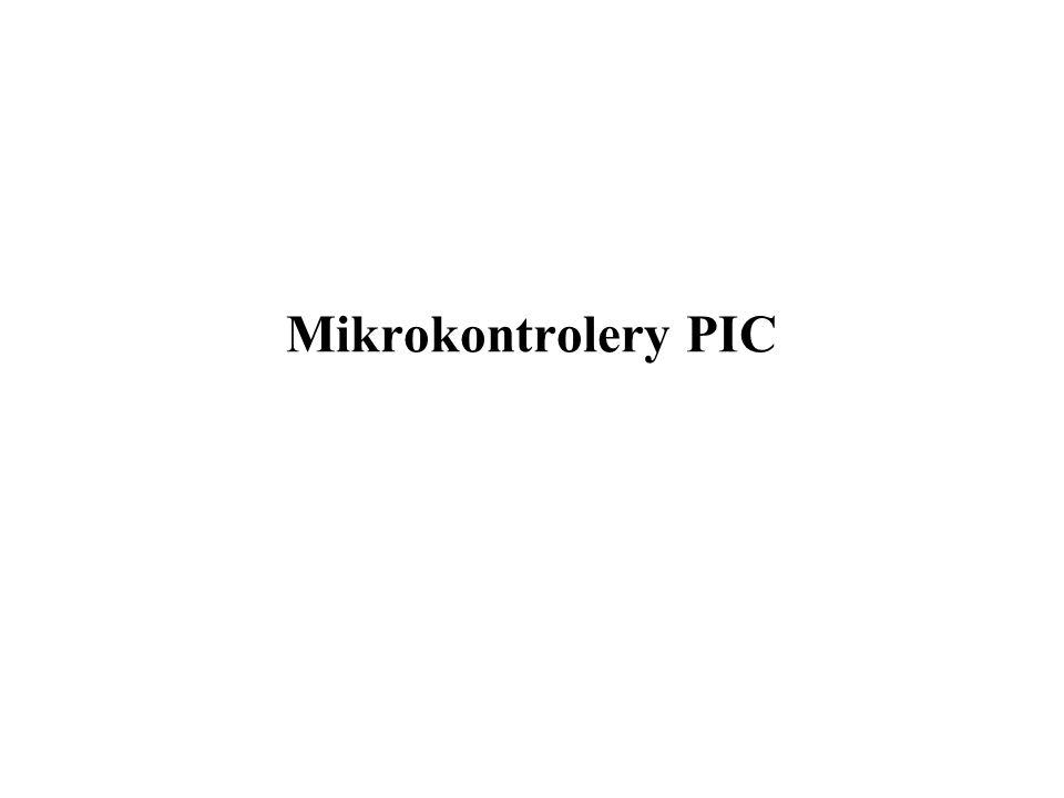 PIC - MidRange 32/51 Praca z obniżonym poborem prądu tryb włącza się rozkazem SLEEP; główny oscylator wyłącza się następuje wstrzymanie wykonywanie programu linie portu pozostają b.z.