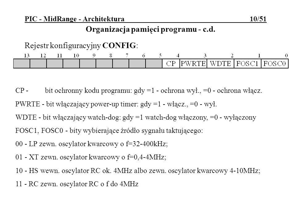 PIC - MidRange - Architektura 10/51 Rejestr konfiguracyjny CONFIG: Organizacja pamięci programu - c.d. CP - bit ochronny kodu programu: gdy =1 - ochro