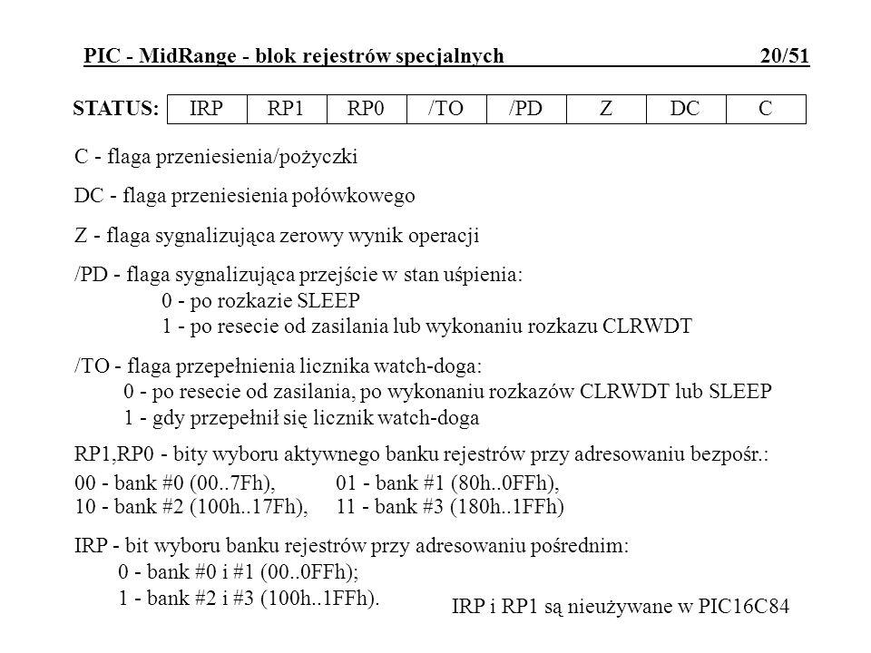PIC - MidRange - blok rejestrów specjalnych 20/51 IRPRP1RP0/TO/PDZDCC STATUS: C - flaga przeniesienia/pożyczki DC - flaga przeniesienia połówkowego Z