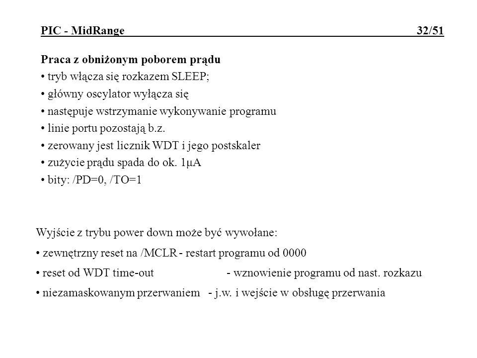 PIC - MidRange 32/51 Praca z obniżonym poborem prądu tryb włącza się rozkazem SLEEP; główny oscylator wyłącza się następuje wstrzymanie wykonywanie pr