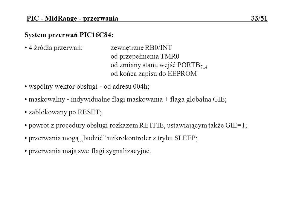 PIC - MidRange - przerwania 33/51 System przerwań PIC16C84: 4 źródła przerwań:zewnętrzne RB0/INT od przepełnienia TMR0 od zmiany stanu wejść PORTB 7..