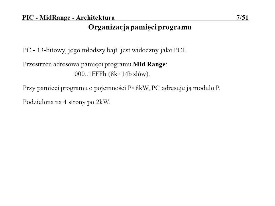 PIC - MidRange - Architektura 7/51 PC - 13-bitowy, jego młodszy bajt jest widoczny jako PCL Przestrzeń adresowa pamięci programu Mid Range: 000..1FFFh