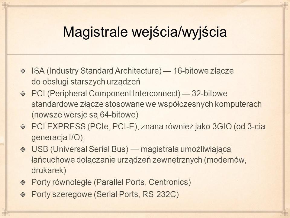 Magistrale wejścia/wyjścia ISA (Industry Standard Architecture) 16-bitowe złącze do obsługi starszych urządzeń PCI (Peripheral Component Interconnect)