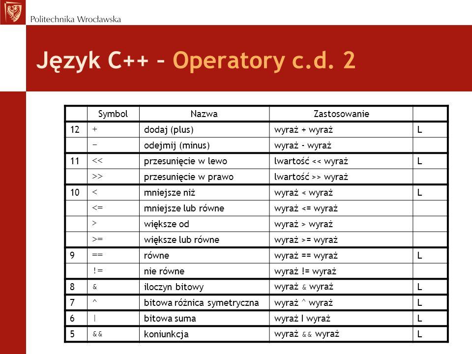 Język C++ – Operatory c.d. 2 SymbolNazwaZastosowanie 12 + dodaj (plus)wyraż + wyrażL - odejmij (minus)wyraż - wyraż 11 << przesunięcie w lewolwartość